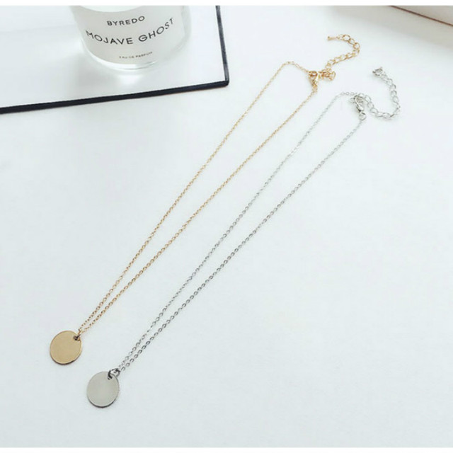 Punk Silver Gold Color Coin Necklace Dainty Disc Pendant Necklace Minimalist Gold Coin Layering Necklace Everyday Jewelry 1