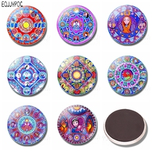Russian Style Kaleidoscope Picture 30MM Glass Fridge Magnet Cartoon beautiful Whiteboard Decoration Refrigerator Magnets Sticker