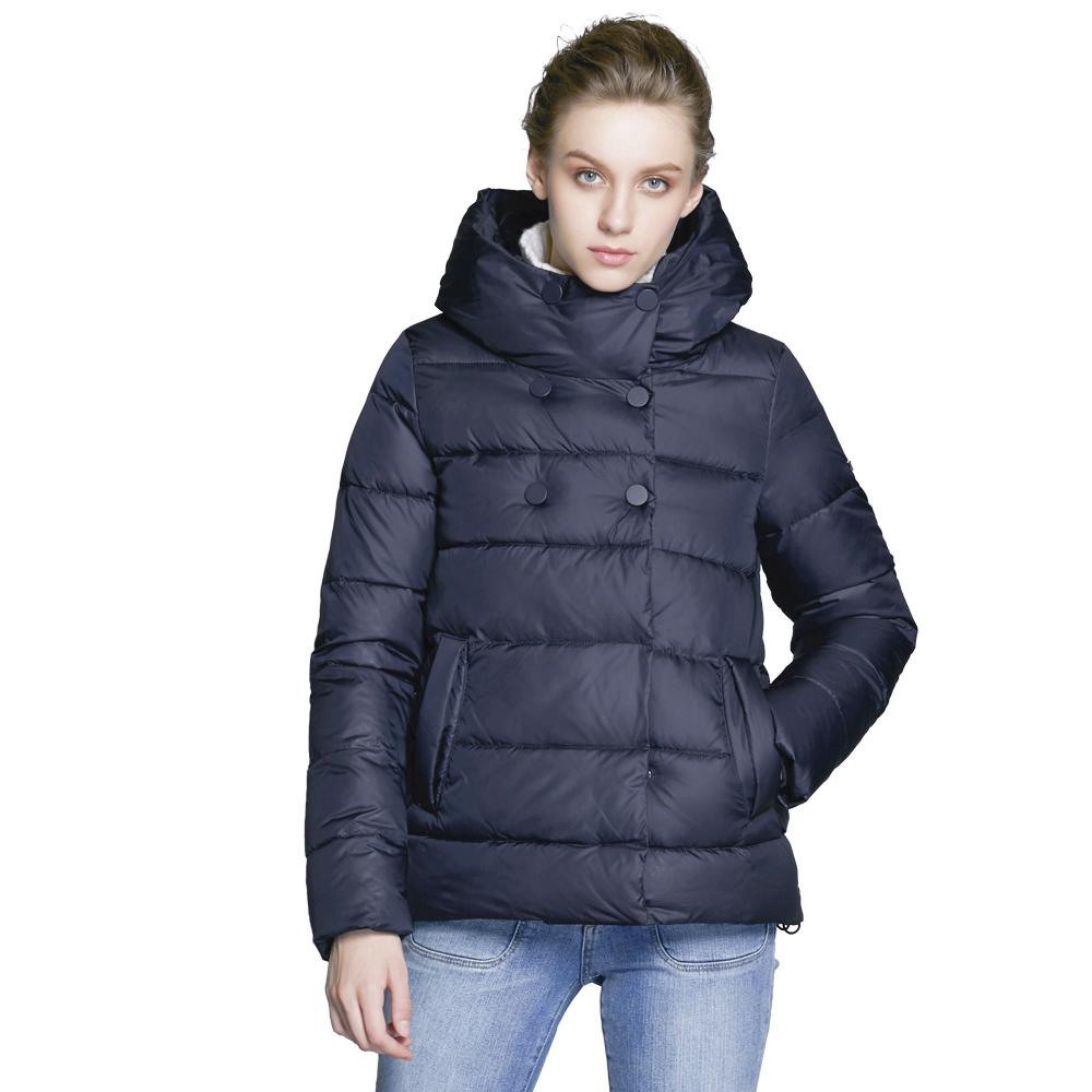 ICEbear 2018 Short Women Parkas Cotton Padded Jacket New Fashion Women's Windproof Thin Cotton Jacket Warm Jacket 16G6117D scuwlinen 2017 winter coat women vintage slanting lapel handmade plate button loose wadded jacket long casual cotton padded w13