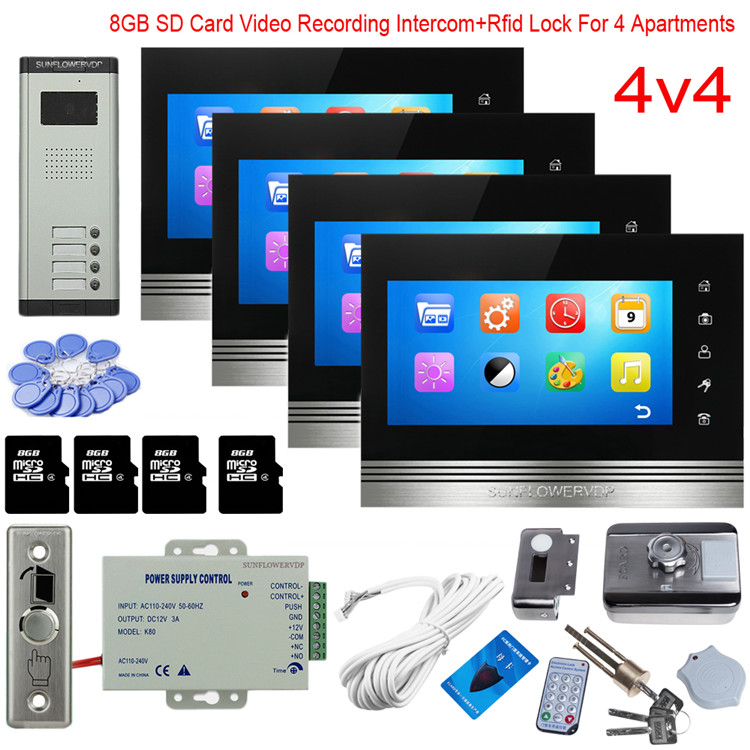 For 4 Apartments Video Recording Wired Home Video Intercom Rfid Lock Videophone 8GB 7