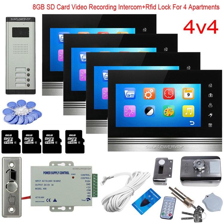 Para 4 Apartamentos Casa Com Fio de Gravação de Vídeo Vídeo Porteiro Rfid Bloqueio Videofone 8 GB 7