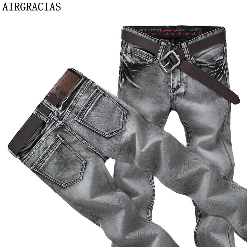 AIRGRACIAS Mens Jeans Classic Retro Nostalgia Straight Denim Jeans Men Plus Size 28-38 Men Long Pants Trousers Brand Biker Jean