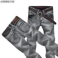 AIRGRACIAS Mens Jeans Classic Retro Nostalgia Straight Denim Jeans Men Plus Size 28 38 Men Long Pants Trousers Brand Biker Jean