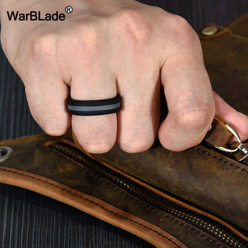 Wbl Silikon Pria untuk Wanita Cincin Warna-warni Tiga Berlapis Hypoallergenic Crossfit Karet Fleksibel Jari Cincin