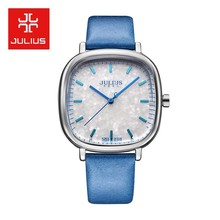 Женские часы Julius Top с блестками, японские кварцевые часы, изящные модные часы с кожаным браслетом, подарок на день рождения для девушек