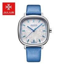 Top Julius Lady cekinowy zegarek damski japonia kwarcowy dramat godzina grzywny modny zegarek skórzana bransoletka Bling prezent urodzinowy dla niej