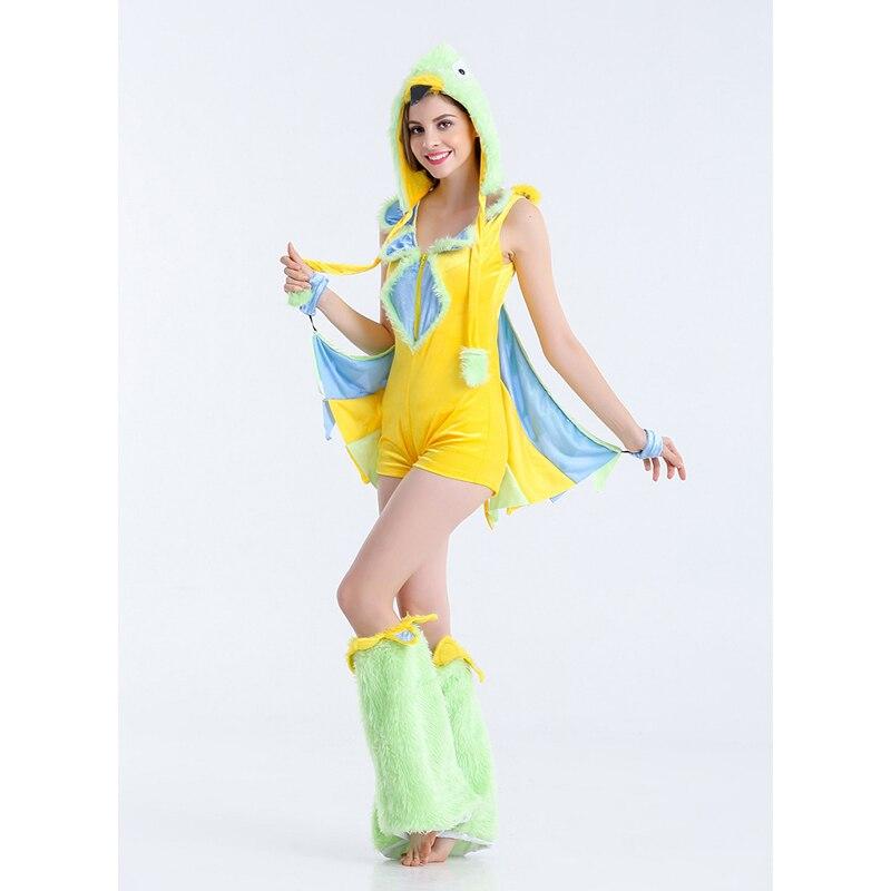 Хэллоуин Животные играть в игры форма новый сексуальный Для женщин Костюмы для косплея динозавра птицы играют костюмы Новый Желтый Для жен...