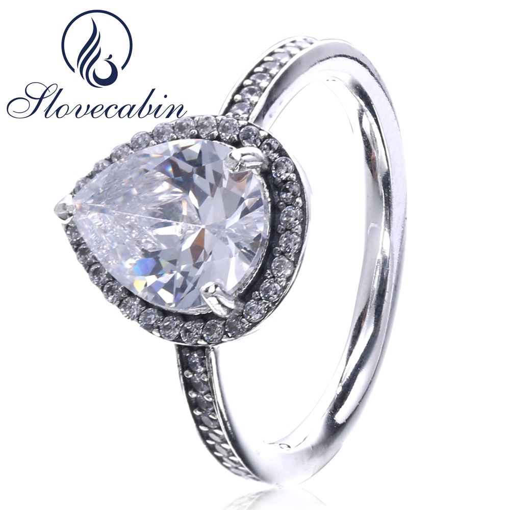 Slovecabin 2017 Autumn Pure 925 Sterling Silver Lovely Heart Ring For Women Popular Brand Jewelry Heart Stone Wedding Ring Anel