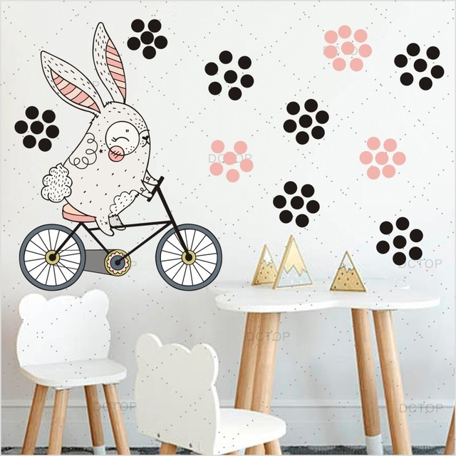 Lovely Cartoon Rabbits Ride On Bicycle Decoration Dot Color Wall Sticker Art Wallpaper DIY Door Background