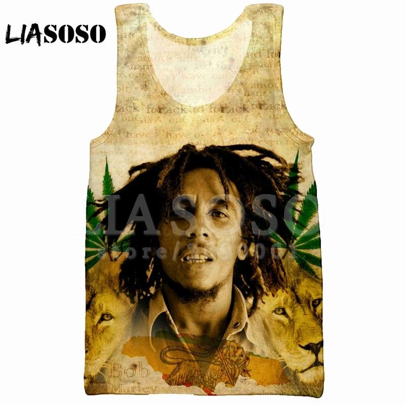 LIASOSO 2018 Summer Casual 3D Print Men's   Tank     Top   Vest Reggae Singer BOB Marley sleeveless Hip Hop   Tank     Top   High-quality X0991