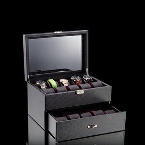 Dwie warstwy skórzane przechowywanie zegarków pudełka Case czarny mechaniczny organizator zegarków panie biżuteria przechowywanie opakowanie na prezent