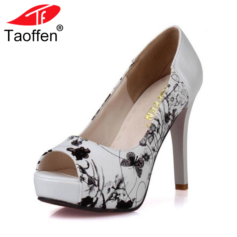 TAOFFEN Size 33-43 Sexy Women High Heel Shoes Women Print Peep Toe Platform Thin Heels Pumps Party Club Office Ladies Footwear fashion ladies shoes 2018 sexy bow thin heel 16cm high heel office shoes peep toe high heel women s pumps shoes size 34 40 yma90