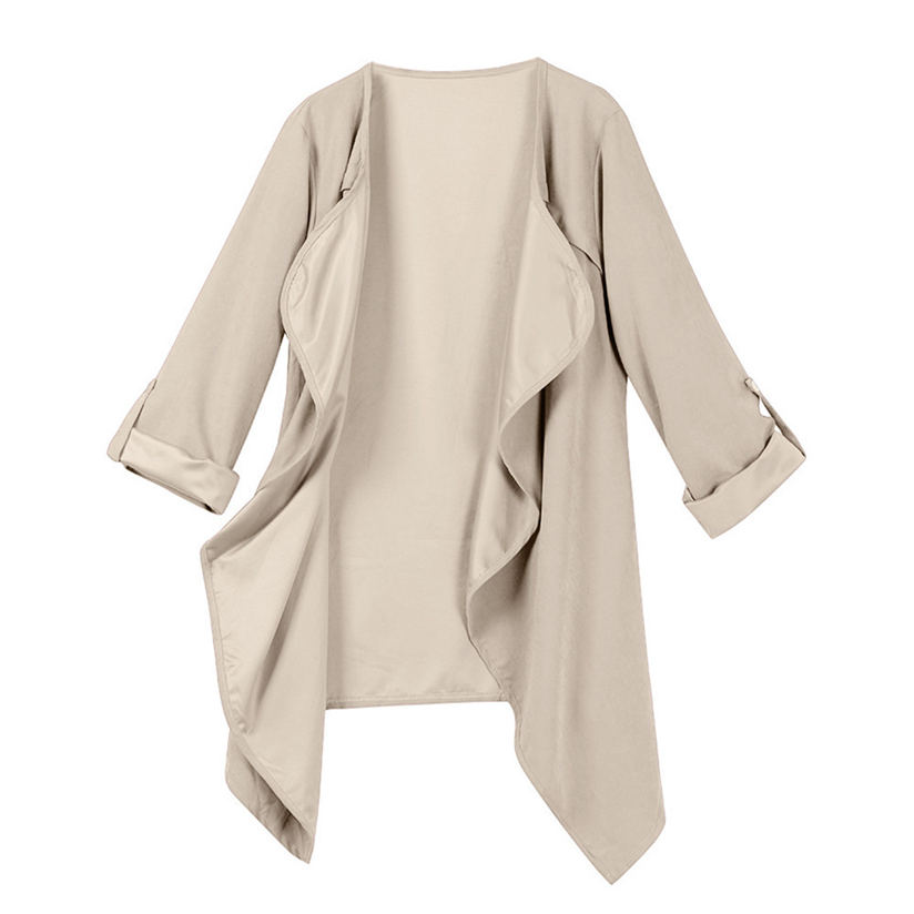 2018 New Brand Fashion Women Autumn Spring Solid Long Sleeve Loose Plus Coat Cardigan with High Quality Cool Soft Dropshiping P5