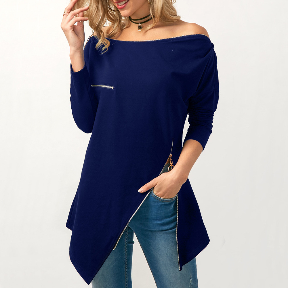 The word shoulder jacket womens solid color long-sleeved T-shirt 2018 Europe and the United States new zipper irregular