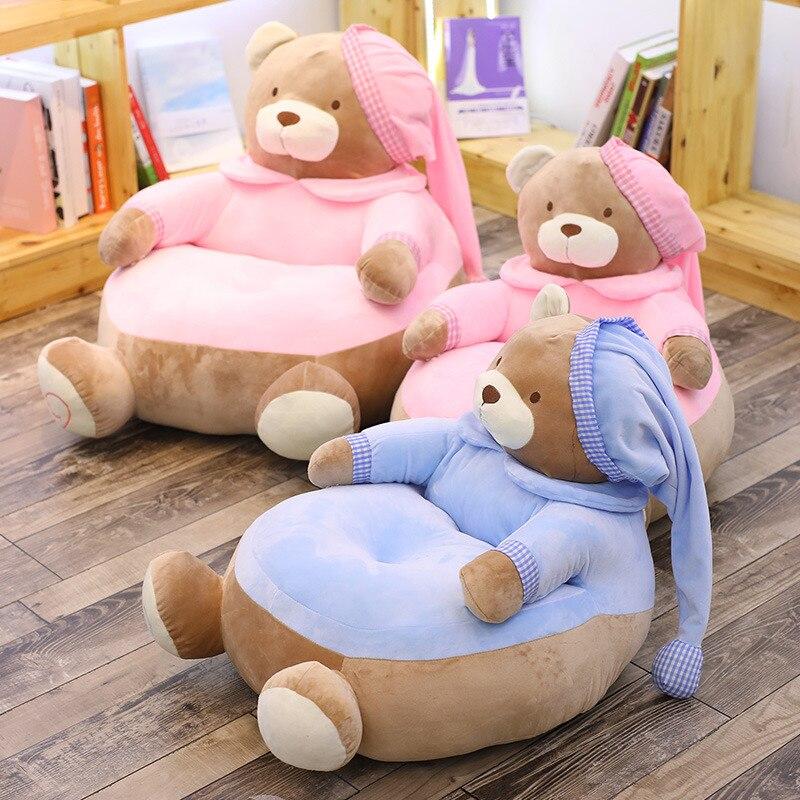 Mignon ours canapé en peluche chaise bébé apprendre assis chaise enfants dessin animé poupée alimentation chaise enfants siège en peluche jouets enfant en peluche cadeau