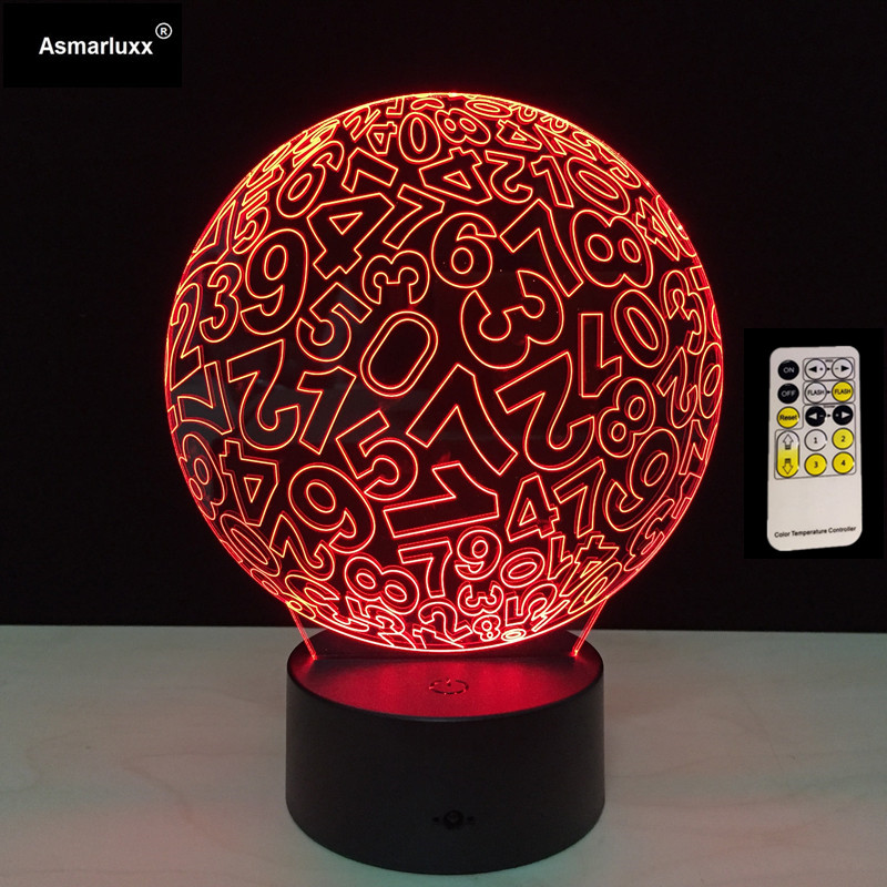 Colorful Remote Control Spherical Arabic Number 3D Table Lamp Luminaria Led Night Lights Decor Lighting Atmosphere Teaching Lamp