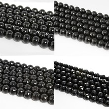 Baihande Natural Black Agate Onyx 6 8 10 12mm Round AAA Facet Gemstone Loose Beads For Necklace Bracelet DIY Jewelry Making