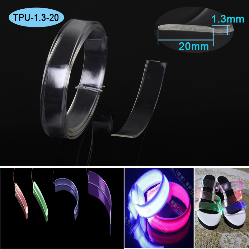 1.3x20mm retângulo emitem lado TPU barra de fibra óptica de plástico para iluminação de luz colar de fibra óptica iluminação pano