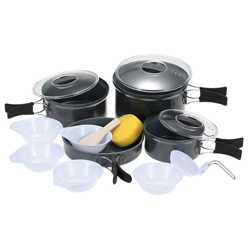 BRS-125 Outdoor 4-5 Person Aluminum Alloy Multi-function Camping Pot Sets Picnic Food Cooker Cookware Tableware Sets