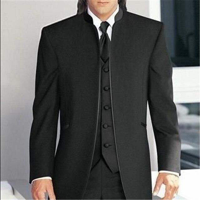2018 nuevos trajes de boda para hombres con cuello de soporte negro 3  unidades piezas ( c72941b2c438