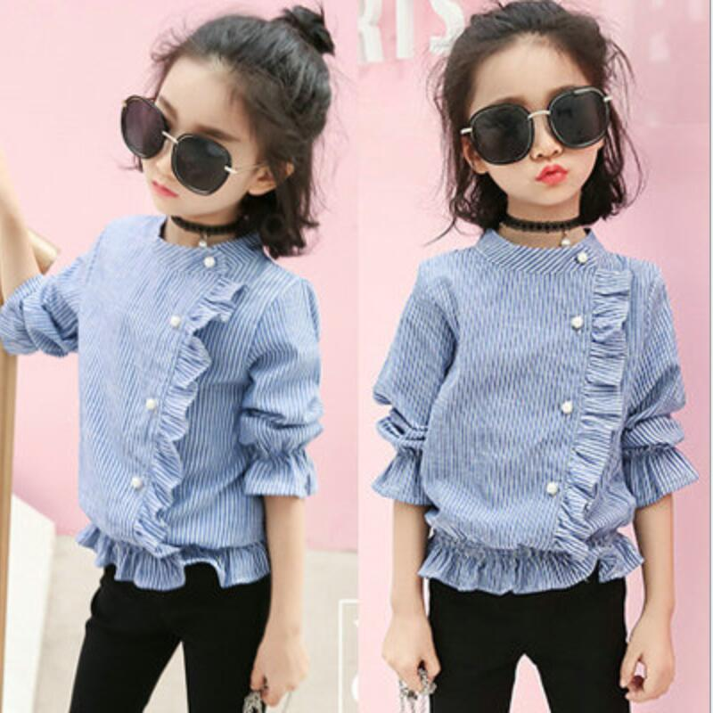 Girls Blouse T-shirt Children Spring Baby Toddler Tops Kids Collar Striped Solid