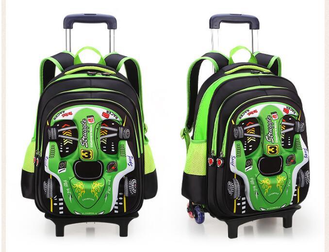 Kid's School wheeled Rugzak Op wielen Trolley schooltas voor jongens Kinderen Auto Trolley Rollende rugzak Tassen voor kids-in Schooltassen van Bagage & Tassen op  Groep 3