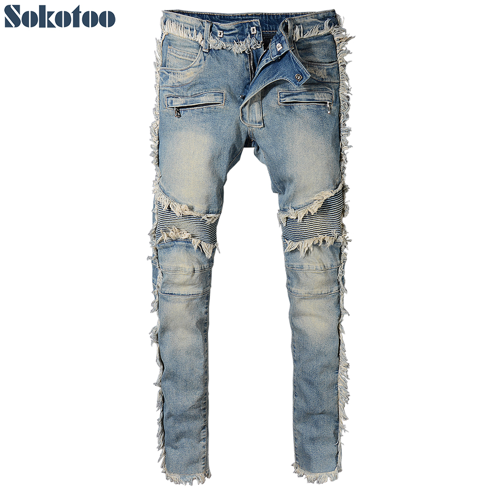 Sokotoo Men's Vintage Washed Denim Fringe Biker Jeans For Moto Fashion Slim Fit Straight Patchwork Pants For Big And Tall