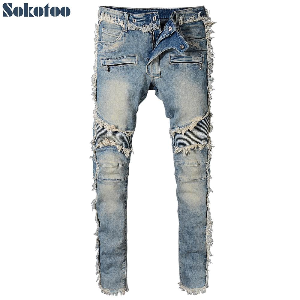 Sokotoo Men's Vintage Washed Denim Fringe Biker Jeans For Moto Fashion Slim Fit Straight Patchwork Pants For Big And Tall