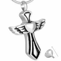 MJD8325 Cremation Jewelry Black W Cross Urn Ashes Necklace Memorial Keepsake Pendant