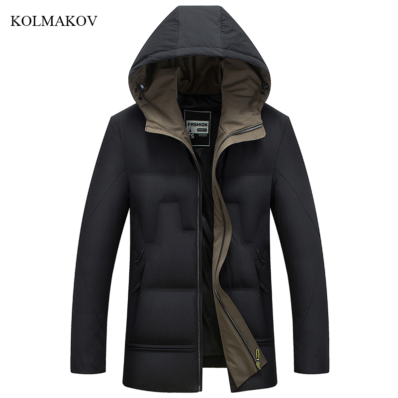 2018 New Arrival Winter Style Men Boutique Leisure   Down     Coats   Fashion Casual Slim Thick Solid White Duck Men's   Down   Jacket M-4XL