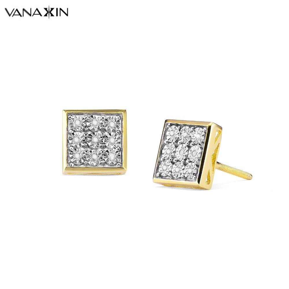 VANAXIN 925 bijoux en argent Sterling haute qualité boucles d'oreilles couleur or deux tons pur boucles d'oreilles pour hommes femmes AAAAA cristal