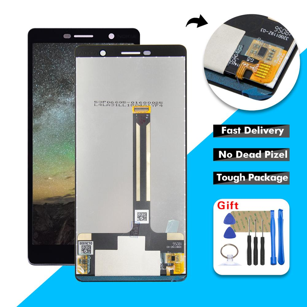 Black Color : Black MCN AYSMG LCD Screen and Digitizer Full Assembly for Nokia 7 Plus E9 Plus