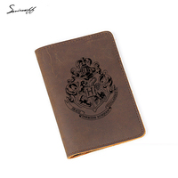 Travel Accessories Harry Potter Passport Bags Men Engraved Hogwarts School Badge Card Holder Personality Leather Passport