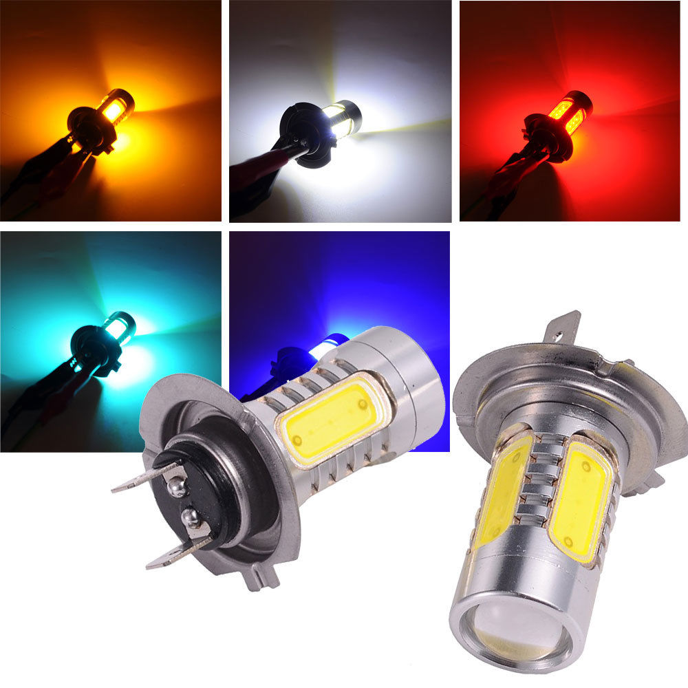Car COB LED H7 Bulb Fog Light Parking Lamp Bulbs Driving Foglight 7.5W DRL 2PCS Amber Yellow White Red Ice Blue car cob led h7 bulb fog light parking lamp bulbs driving foglight 7 5w drl 2pcs amber yellow white red ice blue
