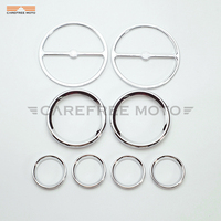 10 Pcs Chrome Motorcycle Stereo Accent Speedometer Speaker Trim Ring Case for Harley Electra Glide 1986 2013