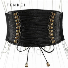 IFENDEI Female Waist Belt Women Dress Gum Luxury Leather Tassel Belts Bow Wide Elastic Belt Skirt Dress Accessories Riemen Women
