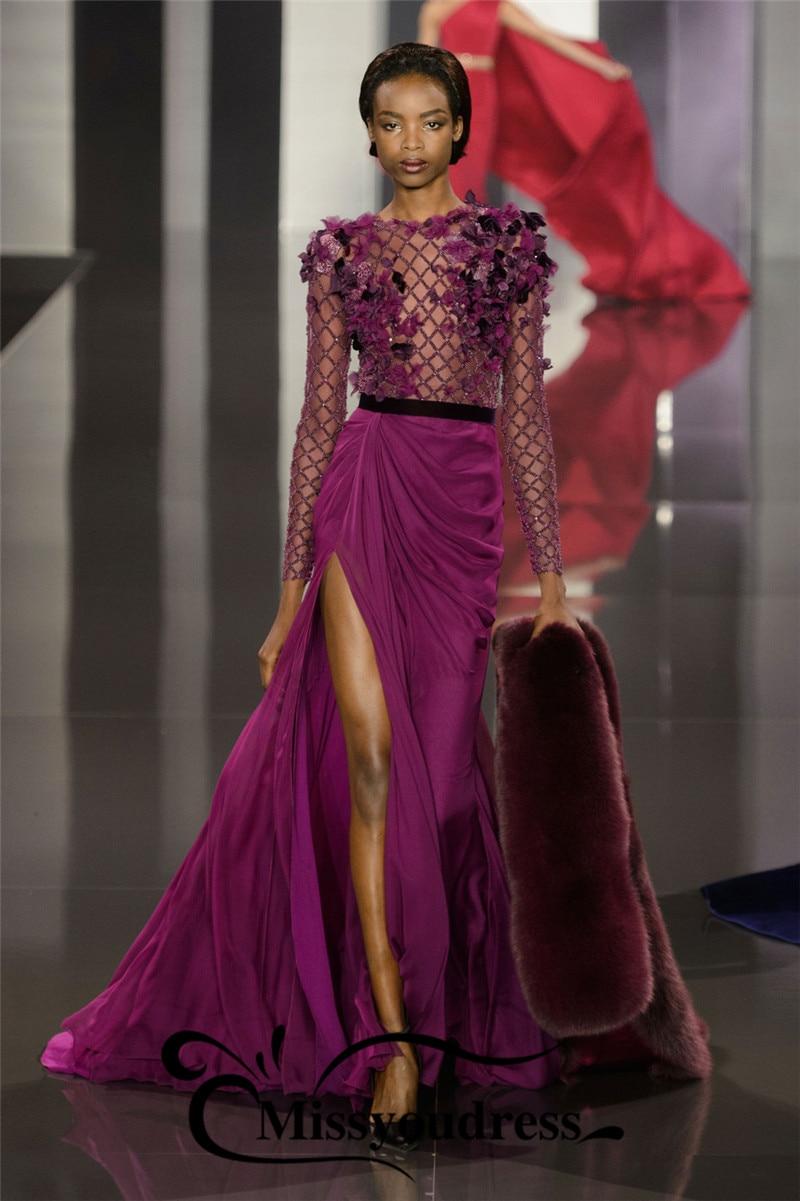 2016新しいdsignイブニングドレス高級釣りネットサイドスリットドレス女性パーティーローブ·デ