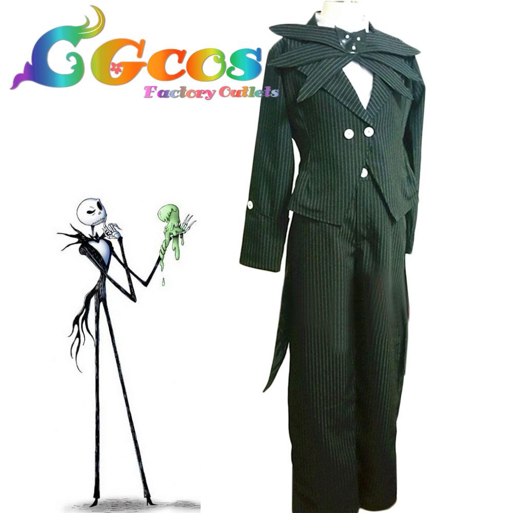 CGCOS Free Shipping Cosplay Costume The Nightmare Before Christmas Jack Skellington Uniform Anime Halloween Christmas Party