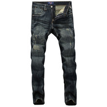 2019 New Fashion Men Jeans High Quality Nostalgia Wash Slim Fit Denim Ripped Jeans For Men Brand Streetwear Biker Jeans все цены