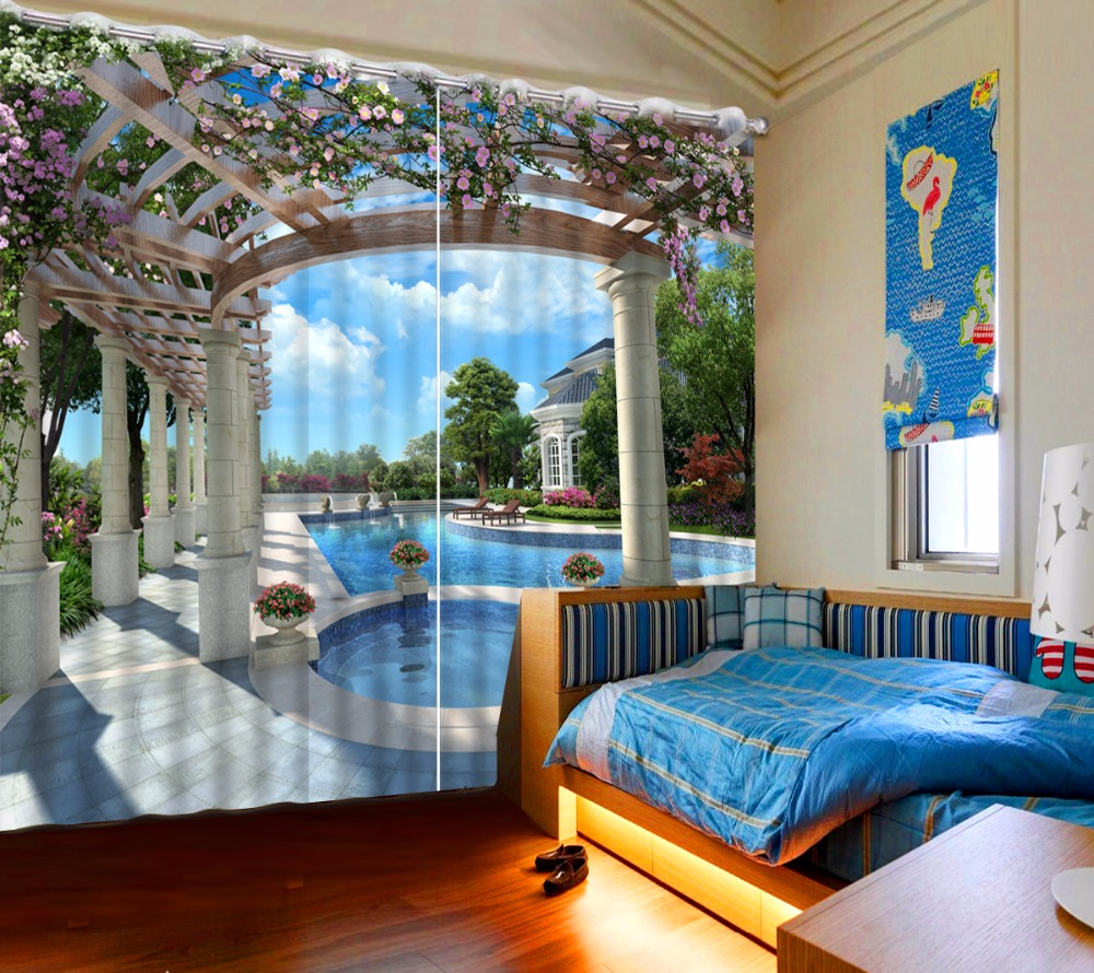 European Curtains For Bedroom Living room swimming pool Blackout Window Curtain Children room 3D Curtains Polyester Drapes
