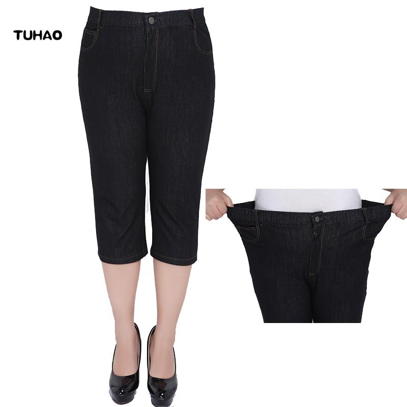 TUHAO Large Size 5XL 6XL 7XL 8XL 2018 Summer Style Capris Pants Women OFFICE LADY JEANS Pants Ladies High Waist woman PANT YH18