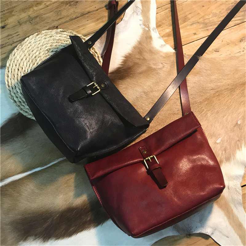Nesitu Black Red Coffee Yellow Brown Vegatable Tanned Genuine Leather Cute Small Women Messenger Bags Shoulder