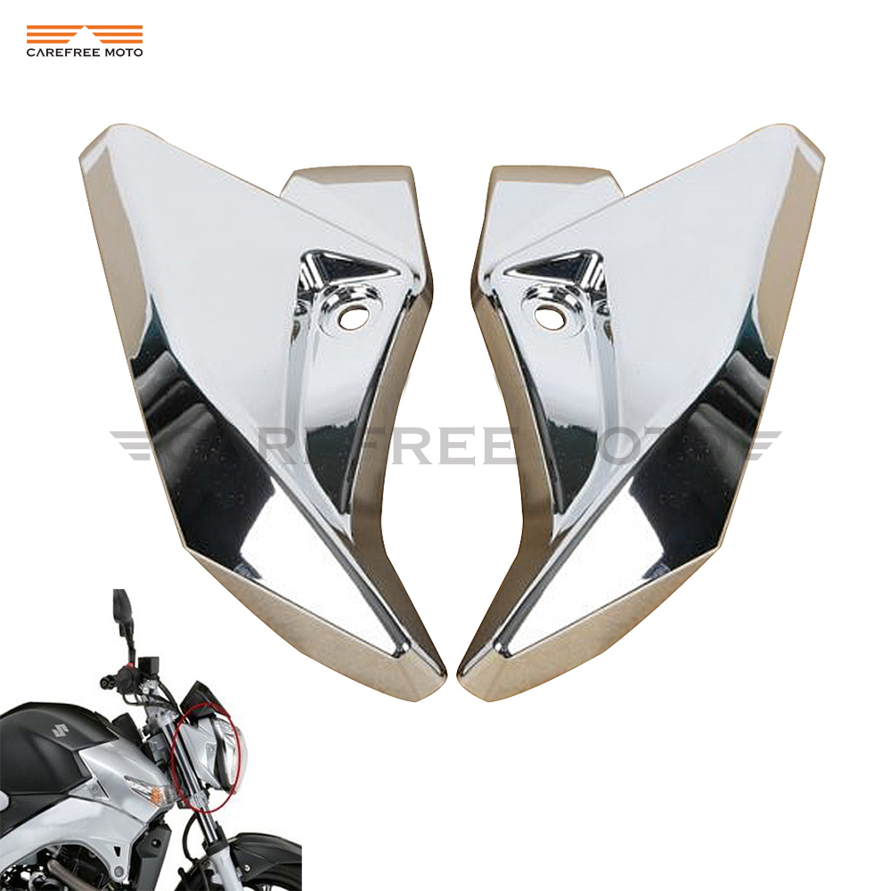 Chrome Motorcycle Front Headlight Side Cover case for Suzuki GSR400 GSR600 2006 2007 2008 2009 2010 2011 2012 aftermarket free shipping motorcycle parts eliminator tidy tail for 2006 2007 2008 fz6 fazer 2007 2008b lack