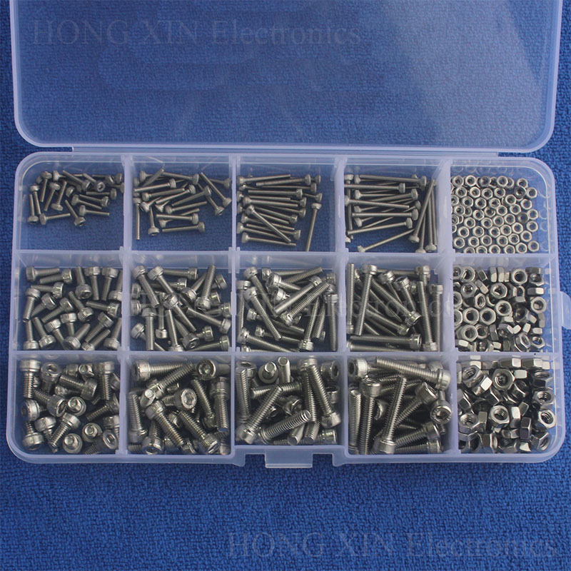 480pcs Screws M2 M3 M4 Hex Socket Screws Set Stainless Steel SS304 Hex Socket Cap Head Screws and Nuts Repair Tool With Box zenhosit 420pcs m2 m3 m4 304 stainless steel 12sizes hexagon hex hardware cylinder cup machine screws m2 m3 m4 nuts kit with box