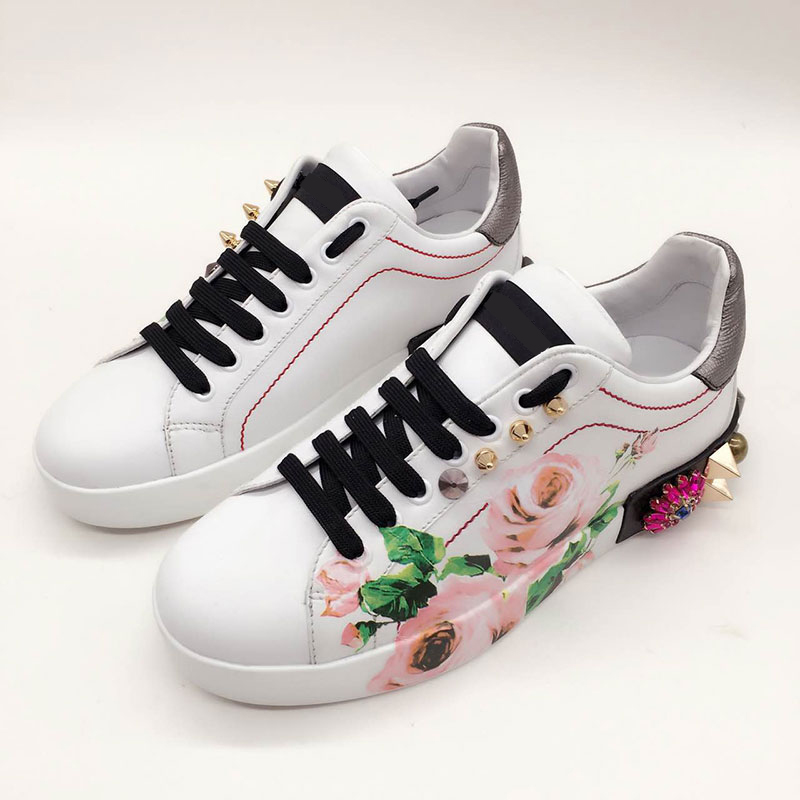 2018 New Fashion Spring Womens Floral White Shoe Ladies Casual Flat Sneaker Thick Sole Lace Up Leather Sport Shoes2018 New Fashion Spring Womens Floral White Shoe Ladies Casual Flat Sneaker Thick Sole Lace Up Leather Sport Shoes