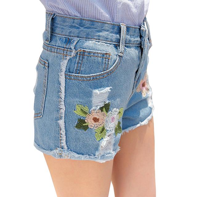 Verão Novo Bordado Denim Shorts Mulheres 2017 de Cintura Alta Jeans calções Durante Todo o Jogo Curto Feminino Plus Size Curto Calça Jeans Maré FL505
