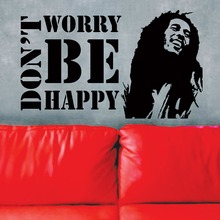 Free shipping Vinyl Wall Decals  Dont Worry Be Happy BOB MARLEY Music Quote Sticker Fashio Home Decor Mural KW-286