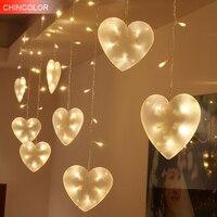 3*0.65 m 120 leds luzes Do Feriado forma do Amor Cortina de Led Luz cordas AC Plug Xmas do casamento do natal dos namorados dia de fadas decoração DA