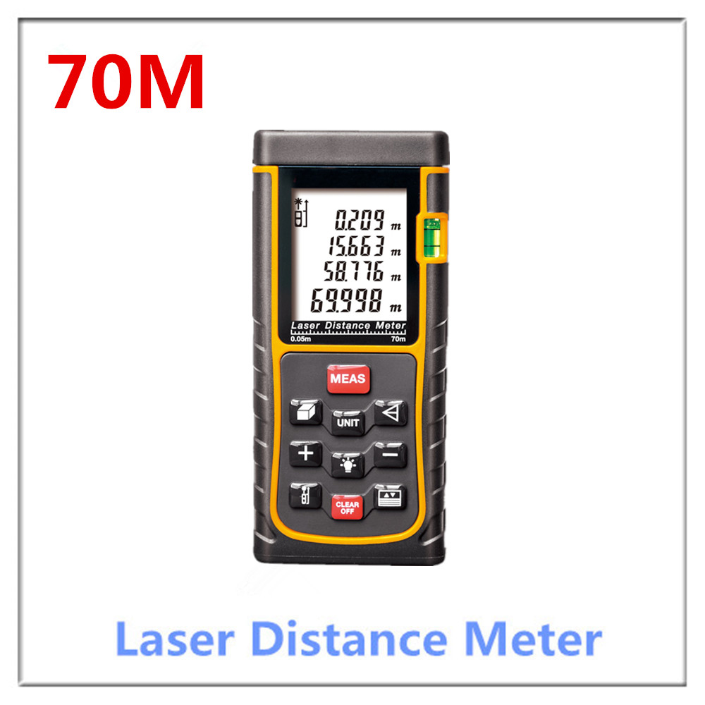 Hot selling 70m 229f Laser distance meter bubble level Rangefinder Range finder Tape measure Area/Volume m/ft/in hot selling 80m laser rangefinder mastech ms6418 laser distance meter