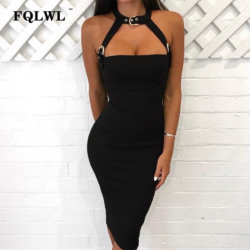 FQLWL Neue Einstellbare Strap Halter Sommer Kleid White Choker Design Verband Bodycon Warp Kleid Sexy Clubbing Party Kleid Vestidos